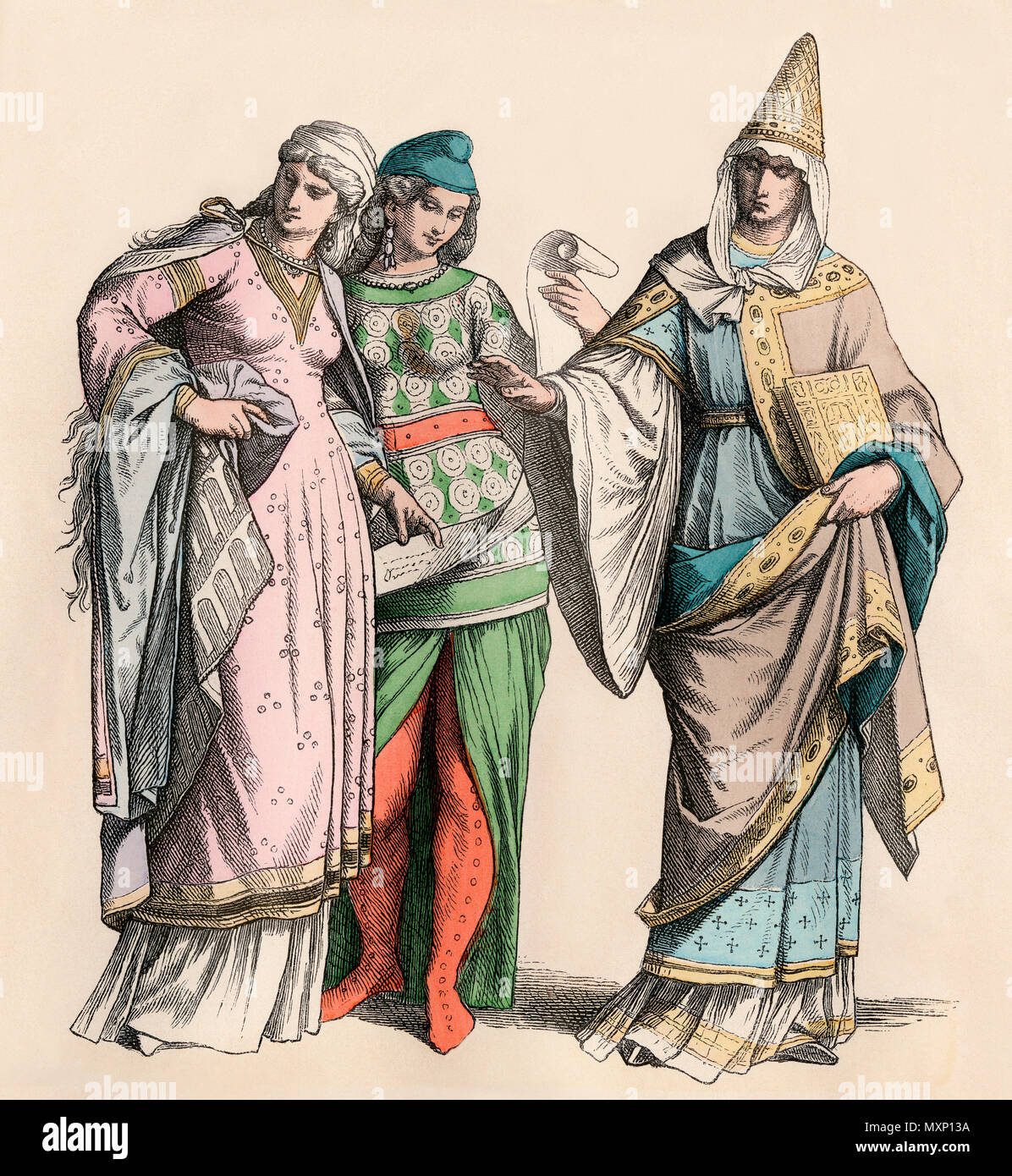 Women and a noblewoman of Normandy, 12th century. Hand-colored print - Stock Image