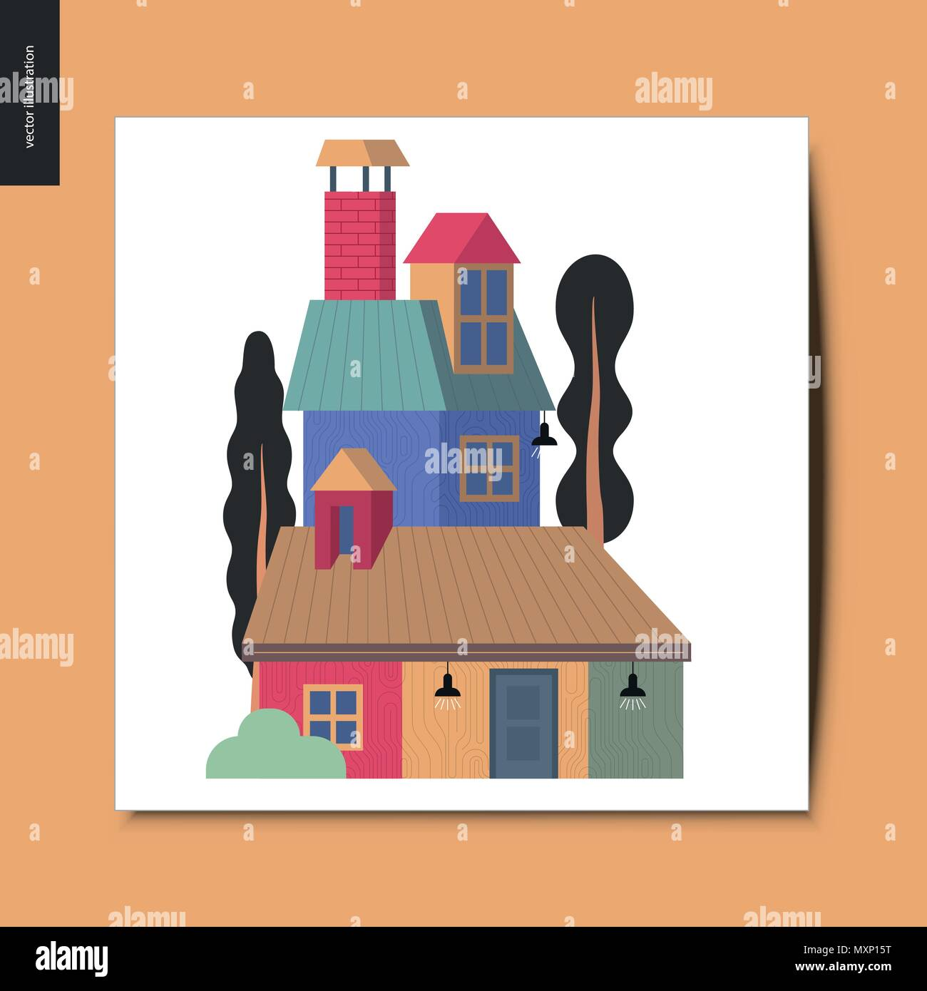 Simple Things House Flat Cartoon Vector Illustration Of A Colorful Countryside House With A Chimney Attic Roof Space And Tall Trees Around It A Stock Vector Image Art Alamy