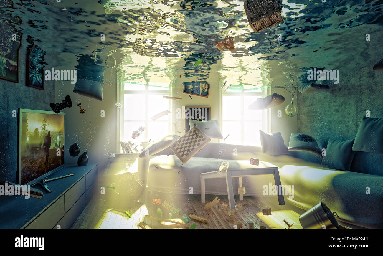Flooded Livingroom Concept Of House Problem And Humidity 3d Rendering Mage