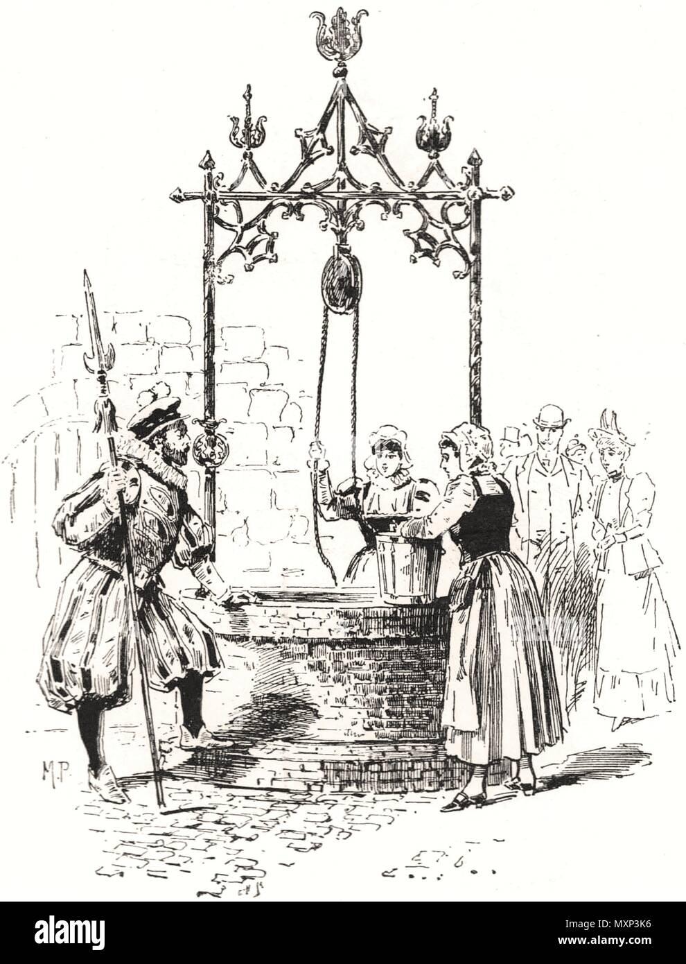 A sixteenth century flirtation. Romance 1894. The Illustrated London News - Stock Image