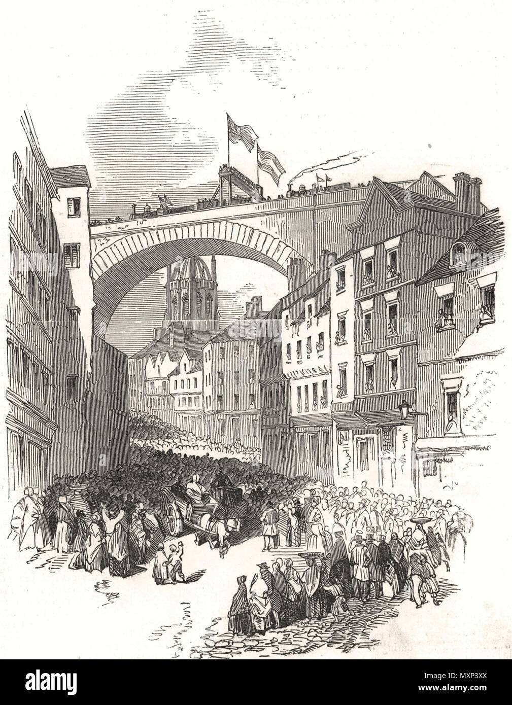 Stupendous railway arch over Dean-Street, Newcastle-upon-Tyne 1848. The Illustrated London News - Stock Image
