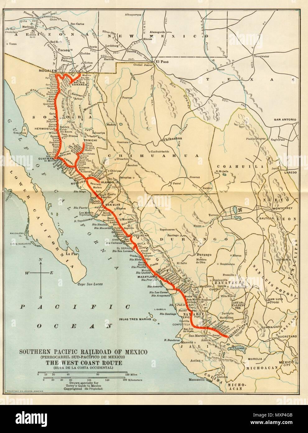 Pacific Mexico Map.Southern Pacific Railroad Ferrocarril Sud Pacifico De Mexico 1935