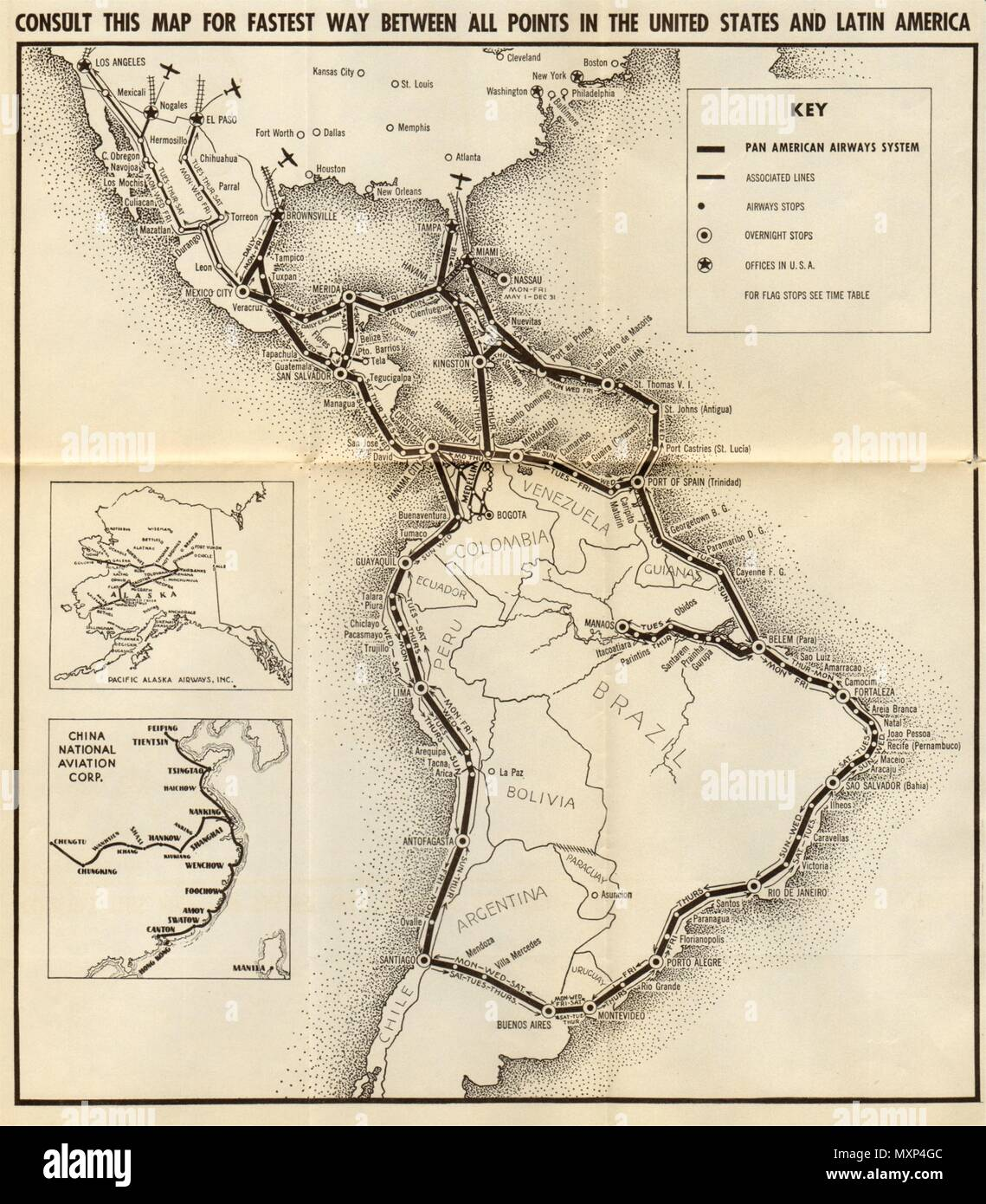 PAN AMERICAN AIRLINES ROUTE MAP. \
