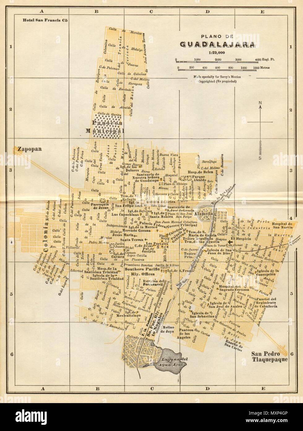 Plano De Guadalajara Mexico Mapa De La Ciudad City Town Plan 1935