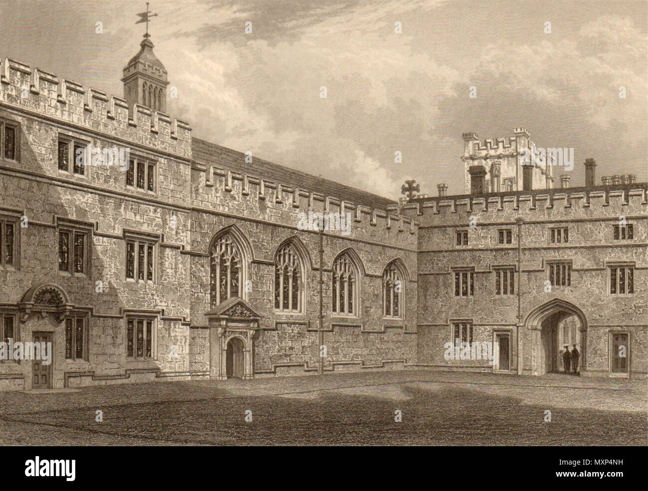 The Quadrangle of Jesus College, Oxford, by John Le Keux 1837 old print - Stock Image