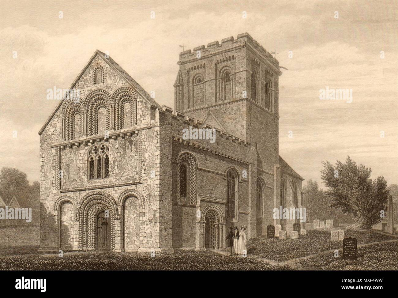 by John Le Keux 1837 print St Mary Magdalen church from St Giles/'s Oxford