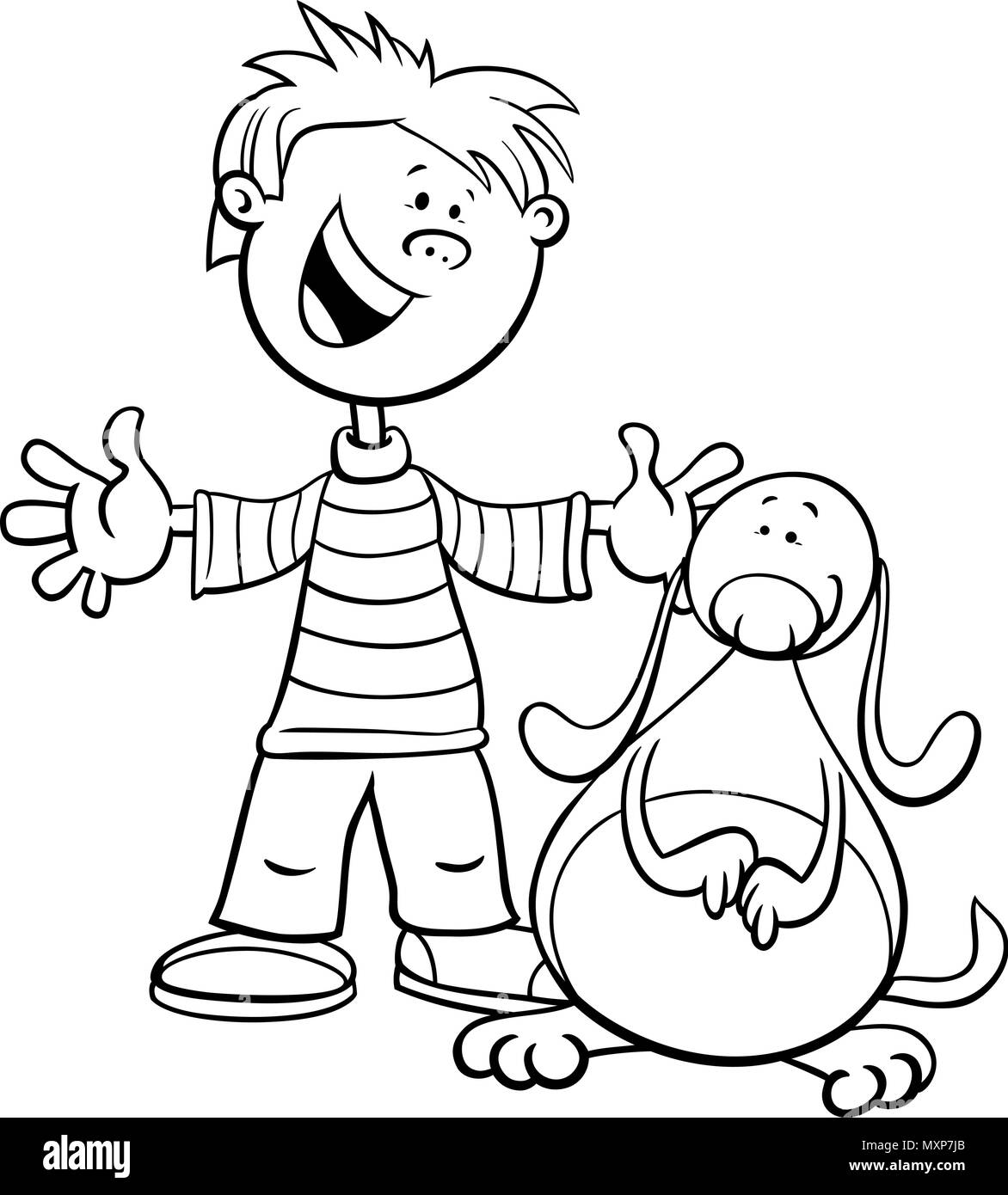 Black and White Cartoon Illustration of Kid Boy with Funny Dog or ...