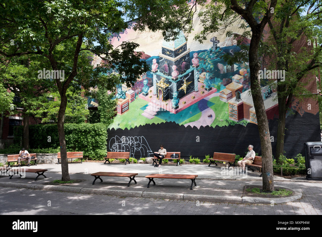 Public art mural and open space, Plateau area of Montreal City, Quebec Province, Canada. - Stock Image