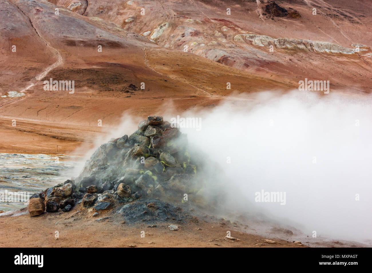 Fumarole near Lake Myvatn in Iceland - Stock Image