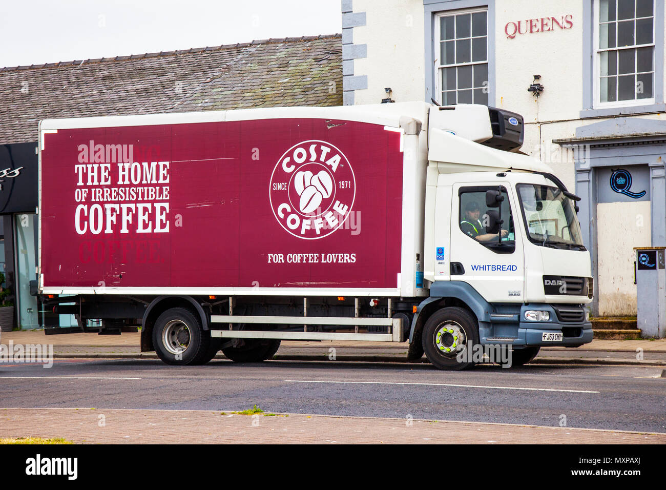Whitbread Costa Coffee Delivery van, transport, transportation, truck, vehicle, car, cargo, shipping, business, commercial, white, courier, lorry, shipment, service vehicle parked in Morecambe, UK - Stock Image