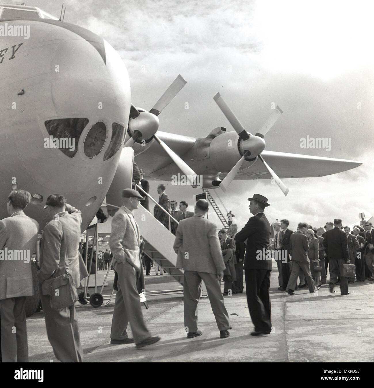 1950s, press launch for a new propeller-driven aircraft, England, UK. - Stock Image