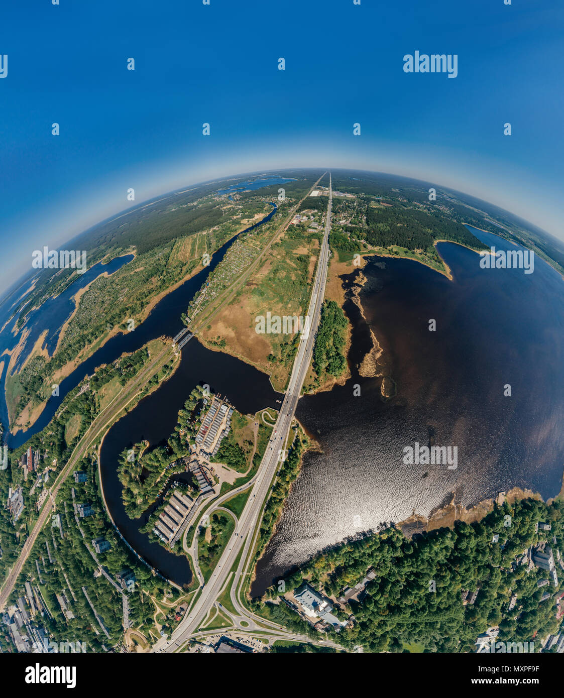 Summer Lake and roads in Riga city and Latvia nature 360 VR Drone picture for Virtual reality, Panorama - Stock Image