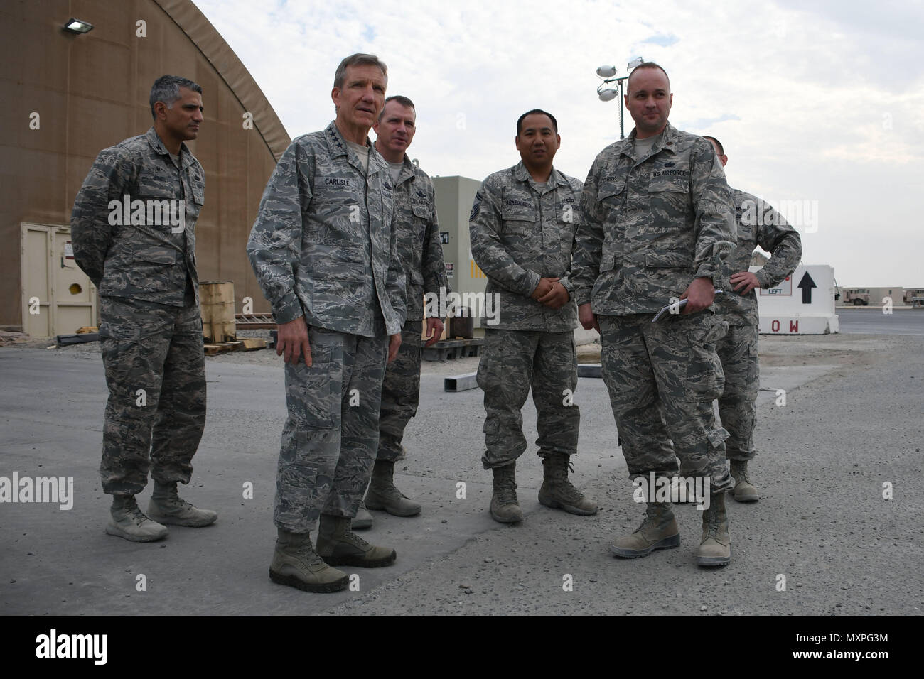U.S. Air Force Gen. Hawk Carlisle, commander of Air Combat Command, tours  the 386th aerial port Nov. 23, 2016 at an undisclosed location in Southwest  Asia.
