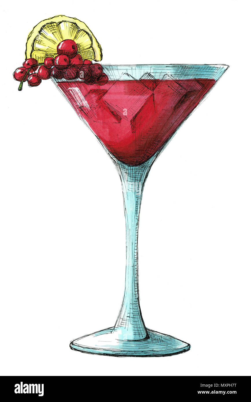 Sketch Cocktail Isolated On White Background Illustration Drawn By Markers Stock Photo Alamy