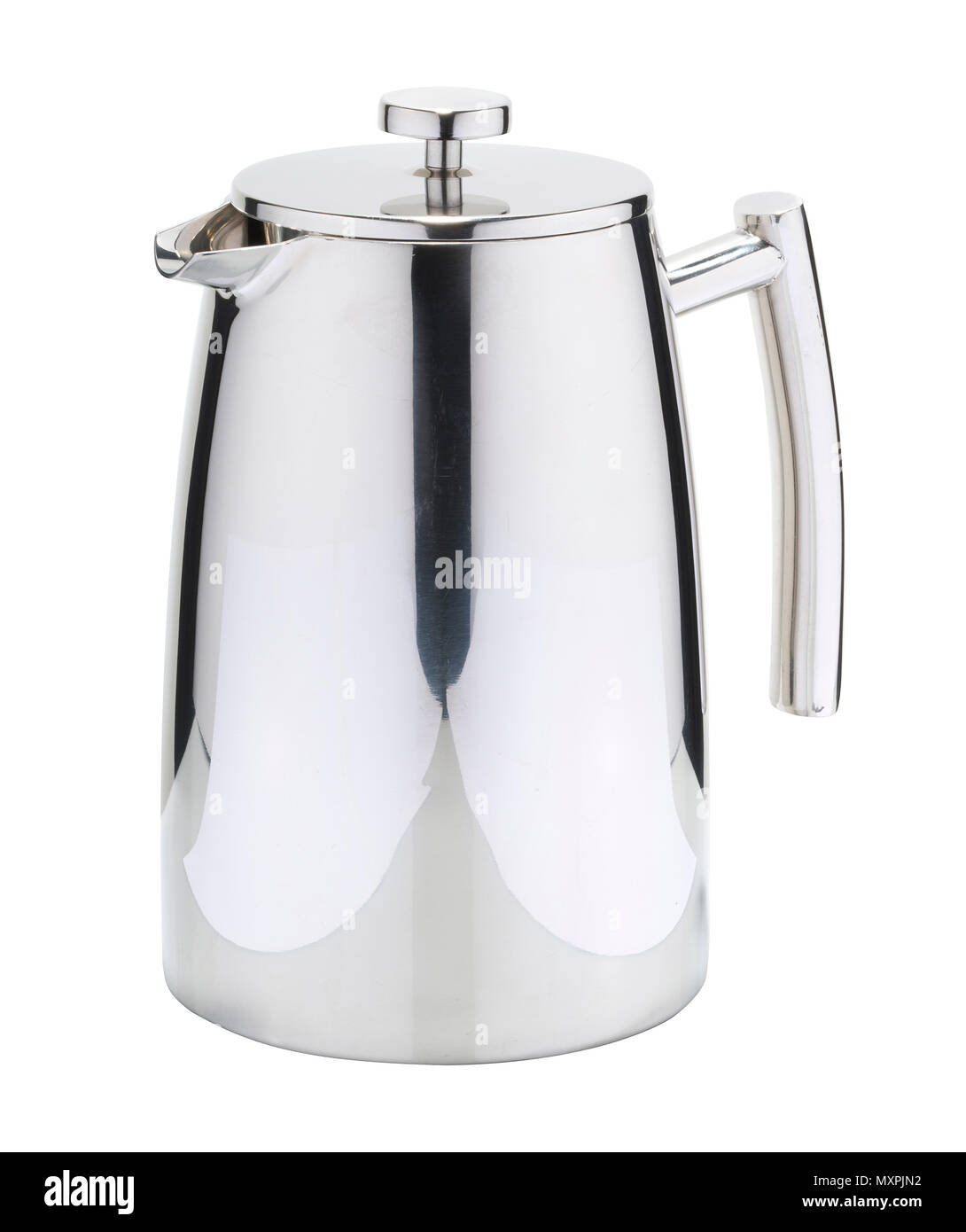 Coffee pot used mainly in the catering industry. Stainless steel, silver coloured coffeepot. - Stock Image