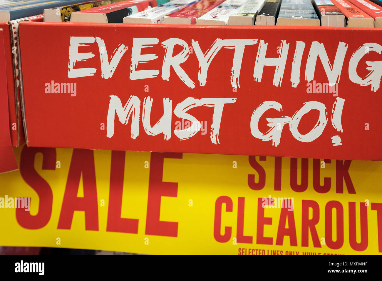 Retail-High Street Shop closure- stock clearout.Closing Down Sale-everything must go.London,UK - Stock Image