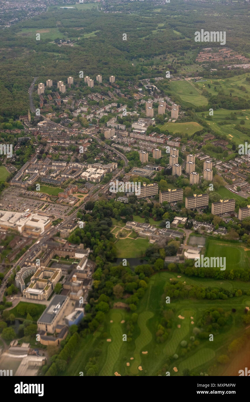 Airial view-Roehampton, Council Estate,Froebel College,University of Roehampton London, the  Golf course of Roehampton Country club-bottom right, Putn Stock Photo