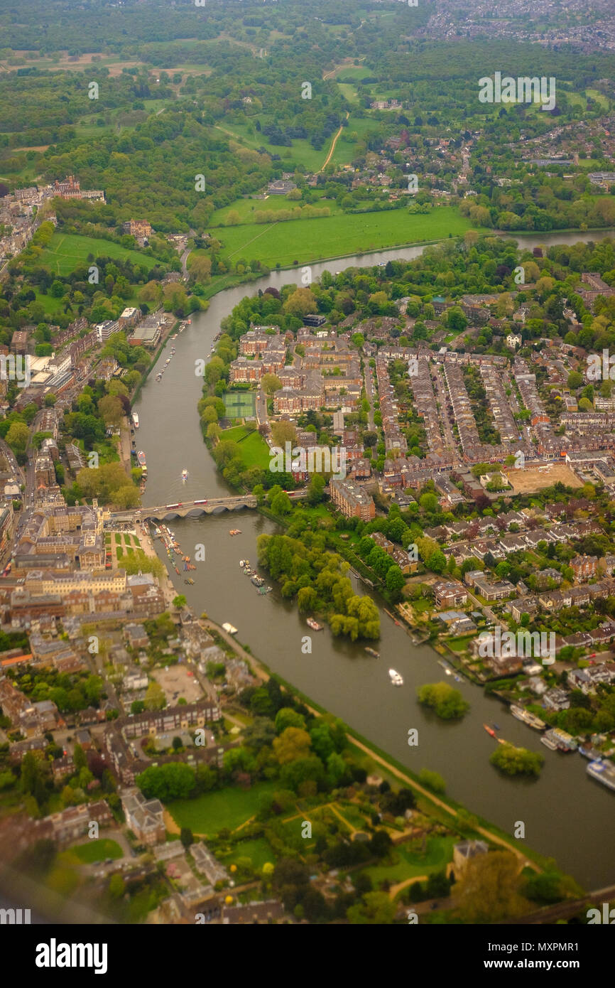 Aerial view of Richmond Upon Thames ,Twickenham and Ham,Richmond Bridge,river Thames and Richmond Park ,Greater London,UK - Stock Image
