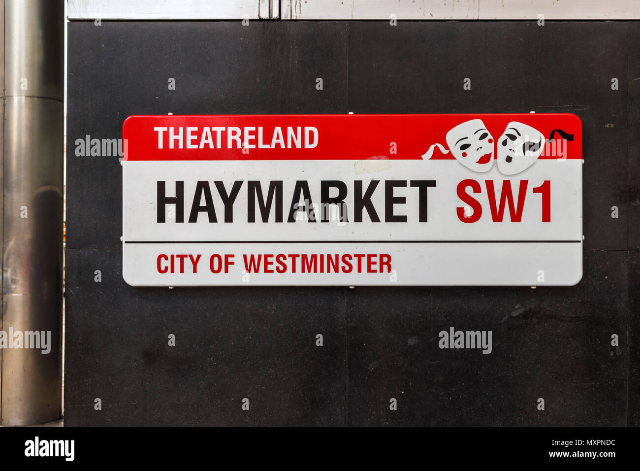 Street sign for Haymarket, a famous road in Theatreland, City of Westminster, London SW1, UK, heart of the cultural entertainment district - Stock Image