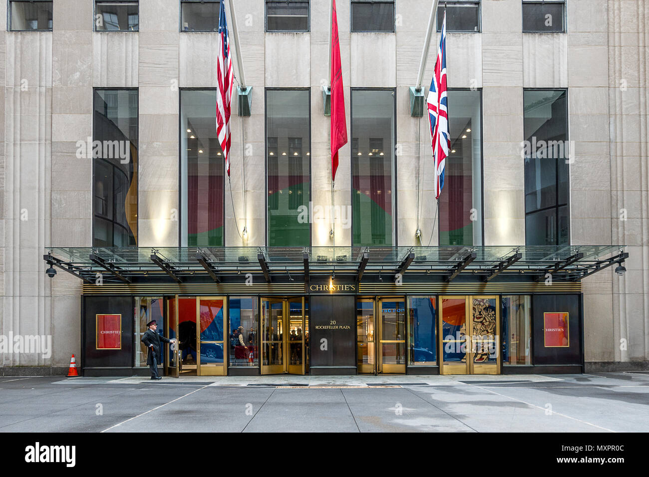 Christies head office at the Rockefeller plaza in new York city - Stock Image