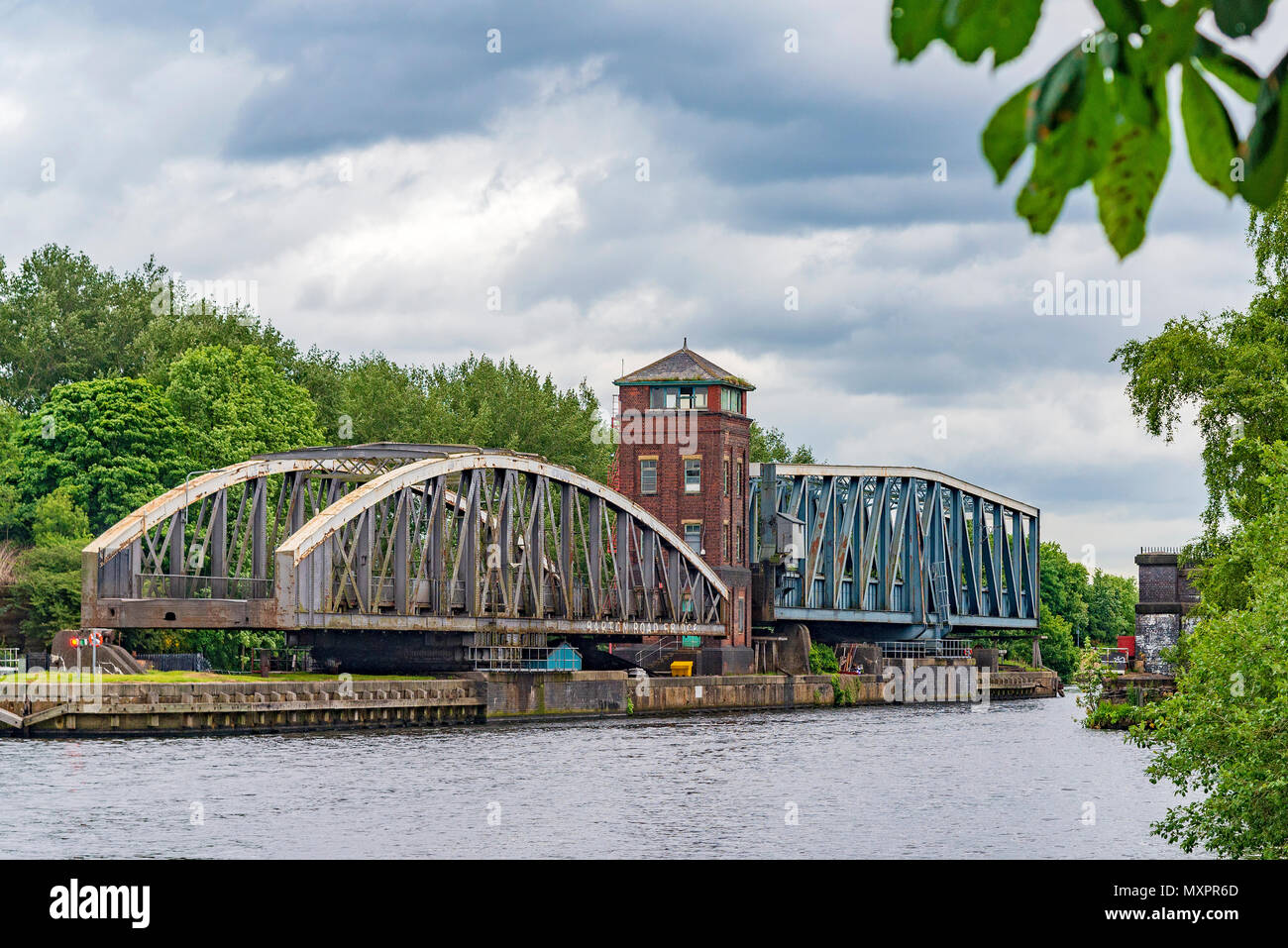 Barton road bridge and aqueduct on the Manchester Ship Canal. - Stock Image