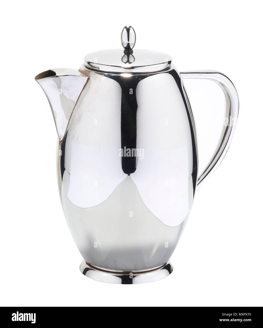 Teapot used mainly in the catering industry. Stainless steel, silver coloured teapot. - Stock Image
