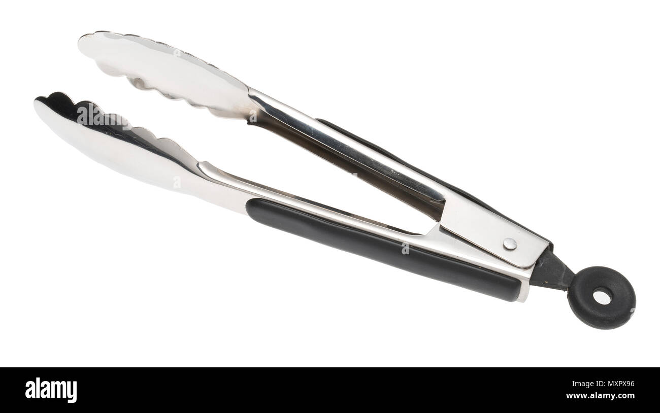 A pair of stainless steel cooking tongs. - Stock Image