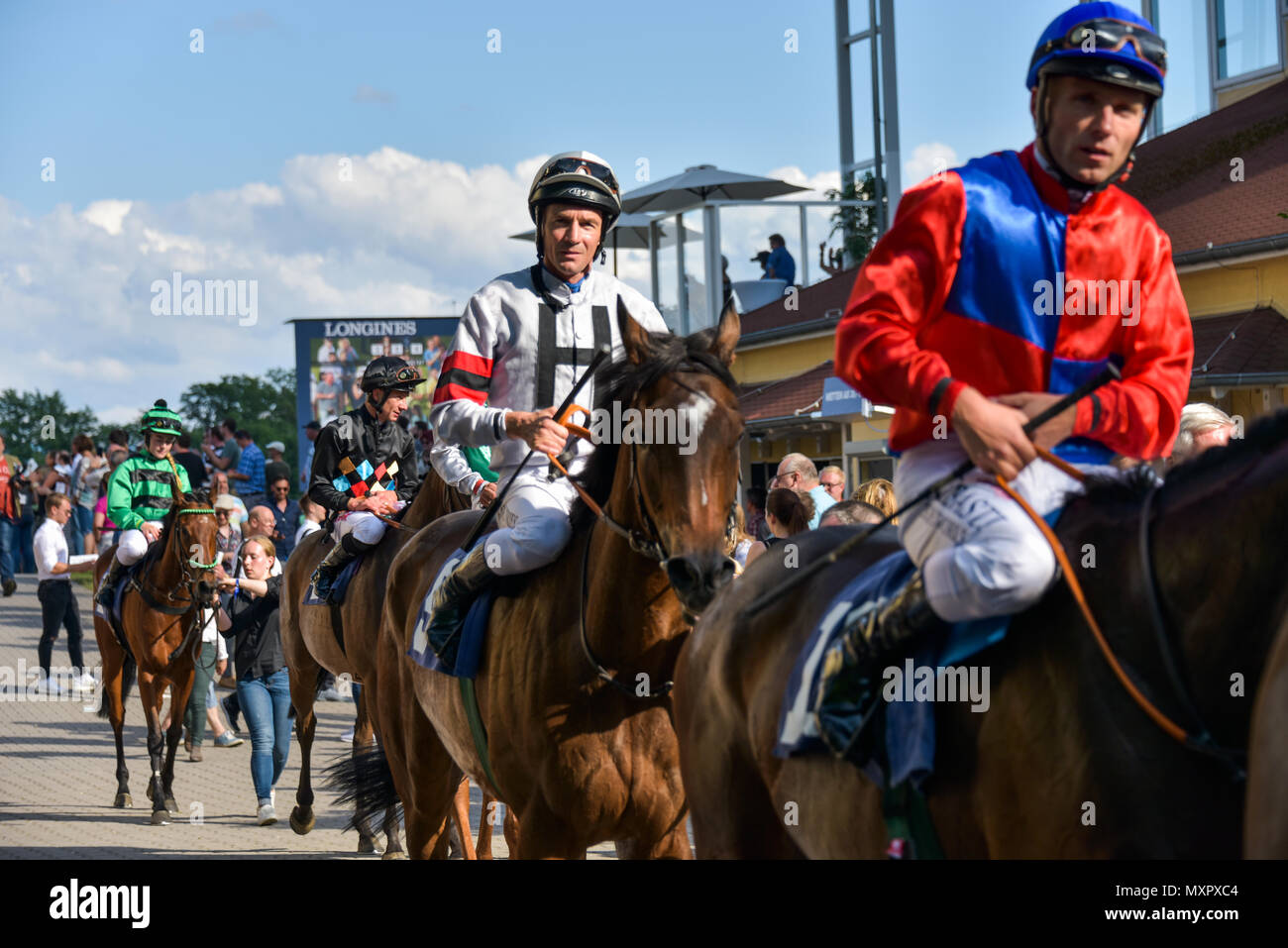 Horse Race Baden-Baden, 2nd June, 2018, Baden Racing of the Spring Event jockeys after the race Silberne Peitsche, leaving the course - Stock Image