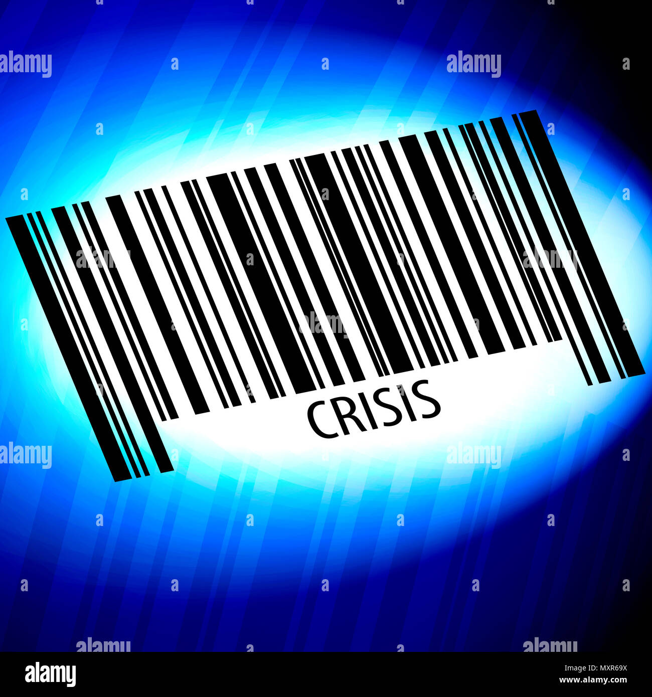 Crisis - barcode with blue Background - Stock Image
