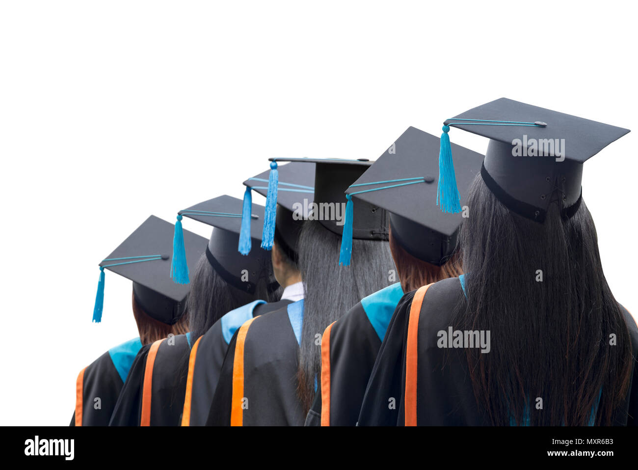 congratulated the graduates in university on white isolated