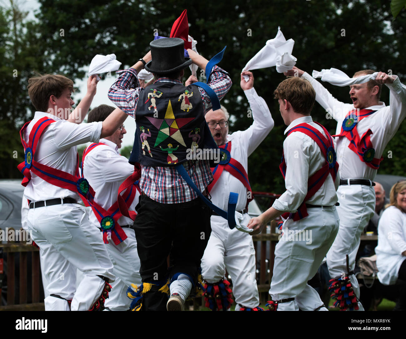 Thaxted Morris Weekend 2-3 June 2018 The Chalice Morris dancing Side at the Horse and Groom pub, Cornish Hall End, Essex. - Stock Image