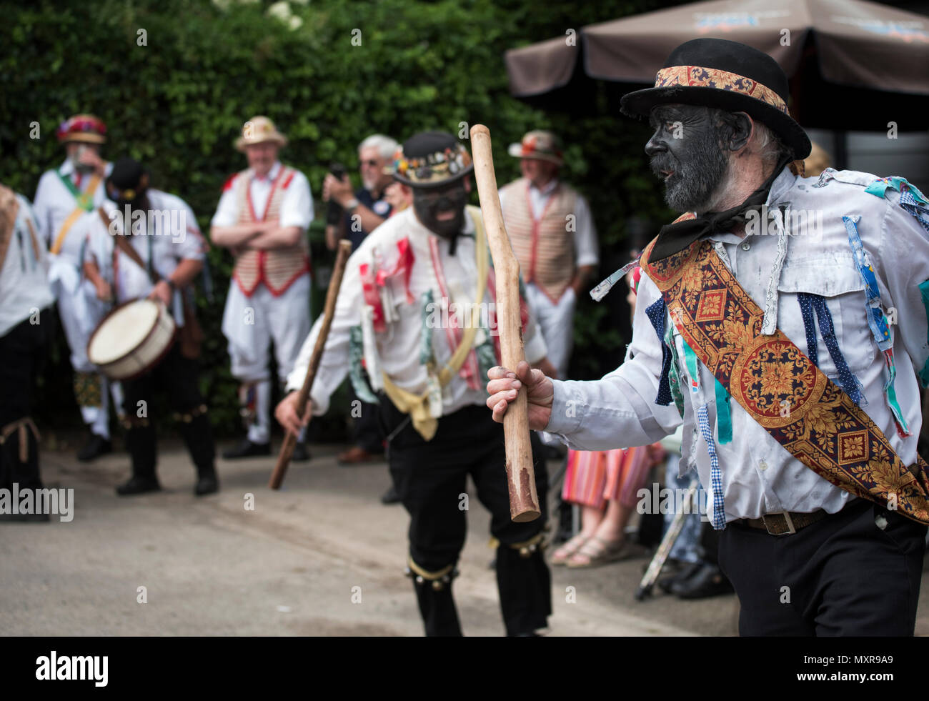 Thaxted Morris Weekend 2-3 June 2018 The Silurian Morris dancing side from Herefordshire dancing in the villages around Thaxted. - Stock Image