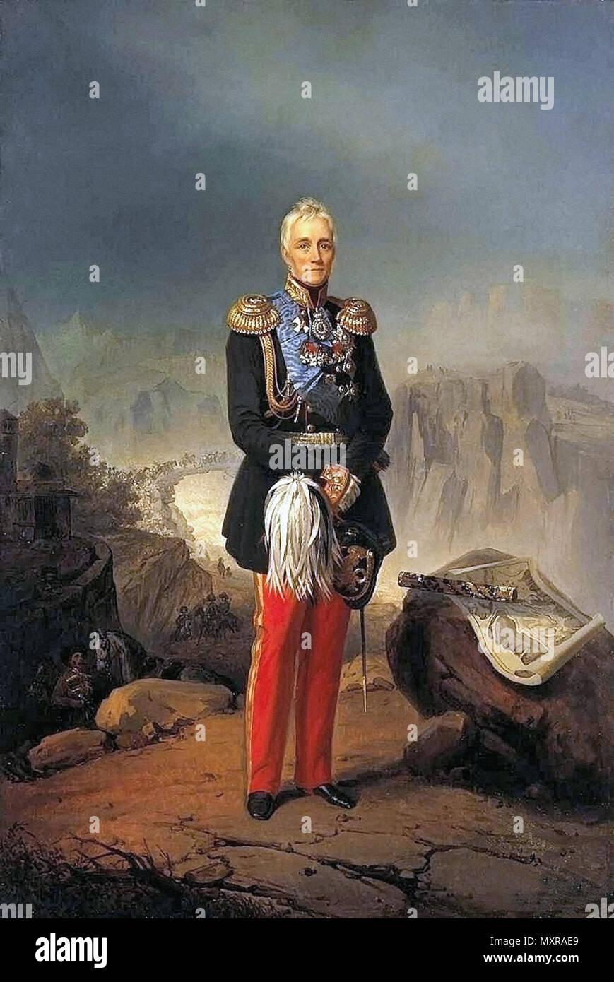 Villevalde Bogdan Pavlovich - Portrait of Feldmarschall M.S. Vorontsov - Stock Image