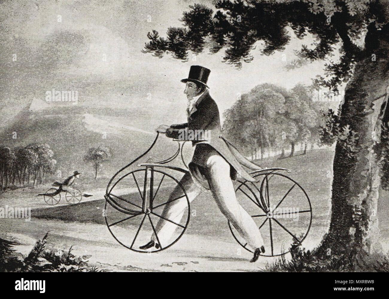 The Pedestrian Hobbyhorse, Circa 1819 Stock Photo