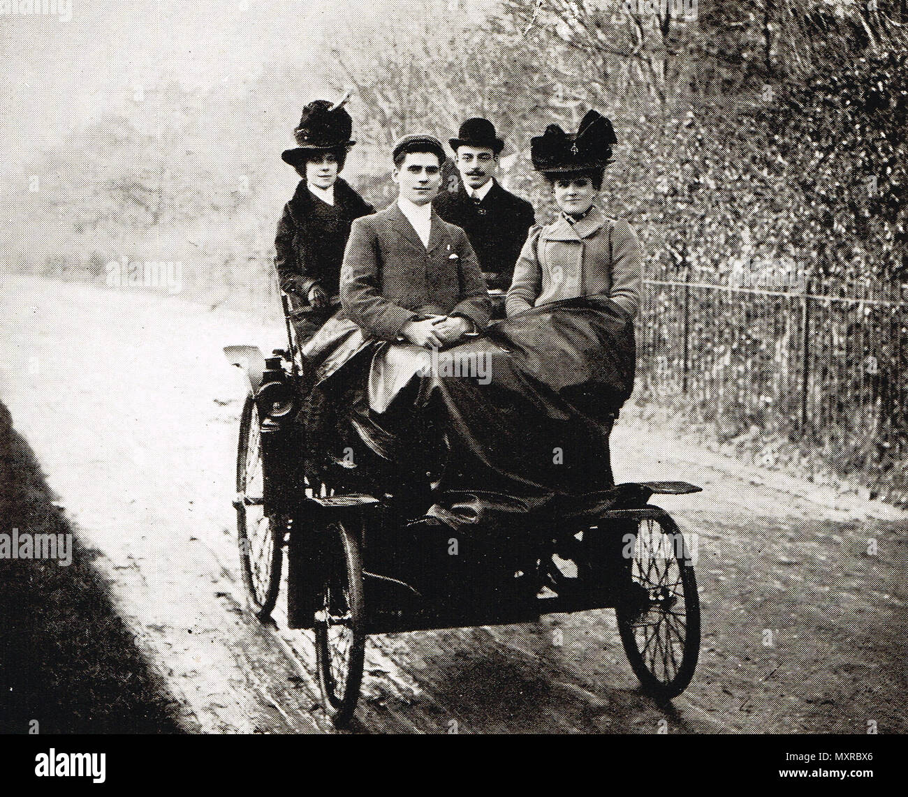 Pioneers of early motoring, circa 1890s - Stock Image