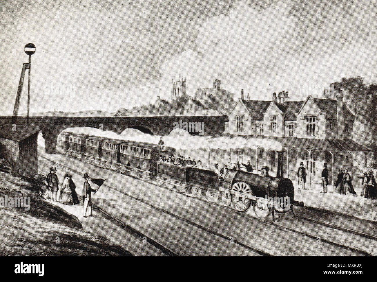 An Early 'Flyer' arriving at a station - Stock Image