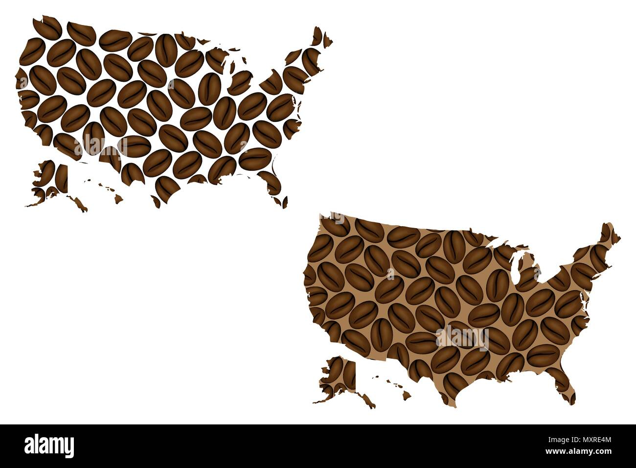 United States of America -  map of coffee bean,  United States (U.S.),(USA) map made of coffee beans, - Stock Vector