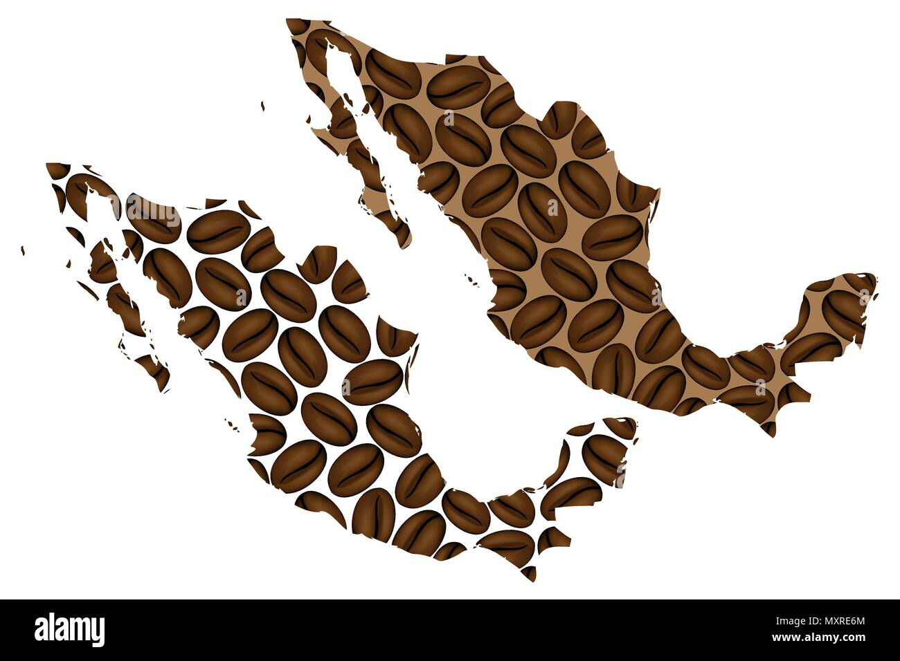 Mexico - map of coffee bean, United Mexican States map made of ...