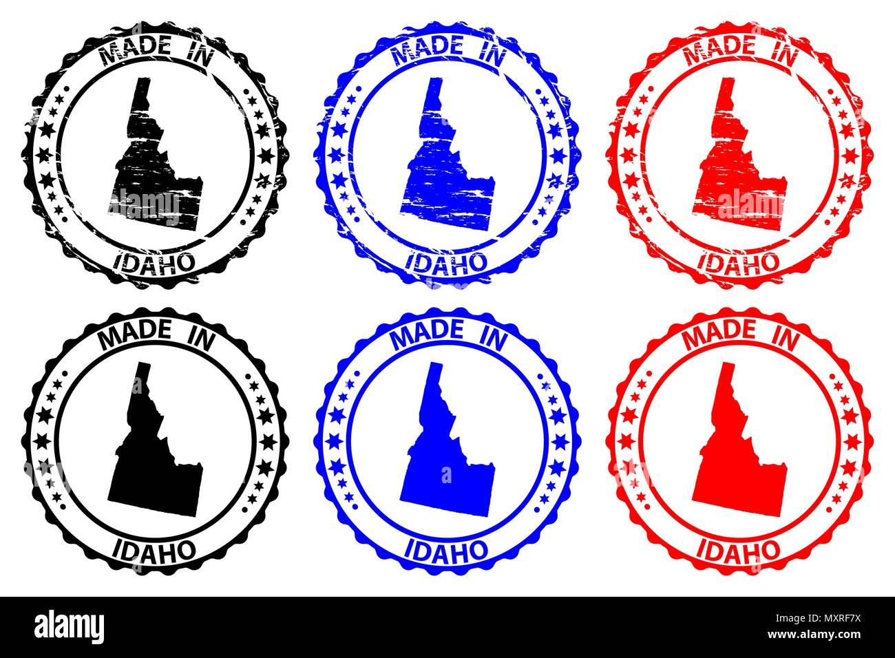 Made in Idaho - rubber stamp - vector, Idaho (United States of America) map pattern - black, blue  and red - Stock Vector