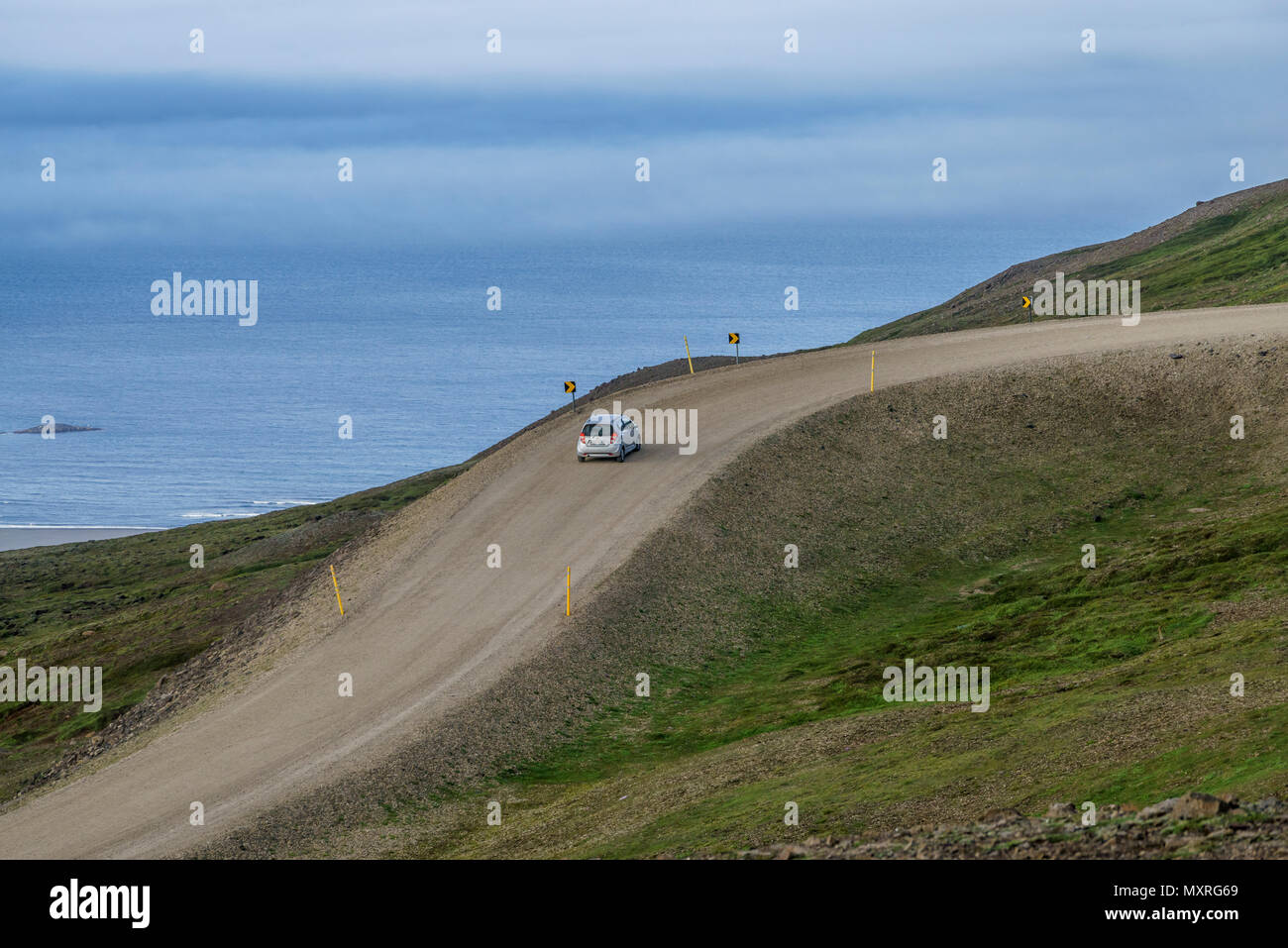 Car on the Ring Road, Eastern Iceland Stock Photo