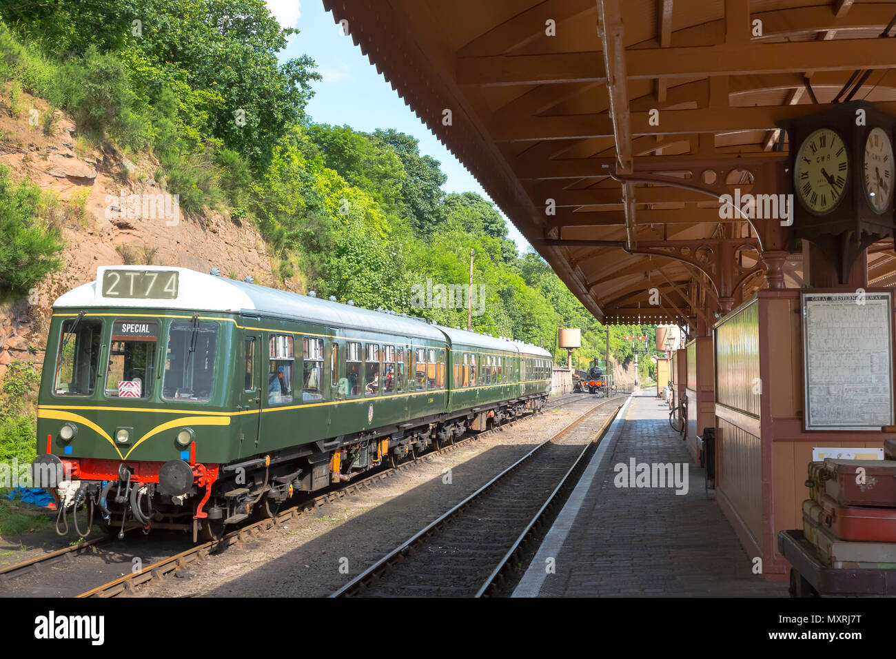 Preserved diesel locomotive on the track at the southern end of Severn Valley Railway's Bewdley station, Worcs. Ex-British railways Class 108 DMU. - Stock Image