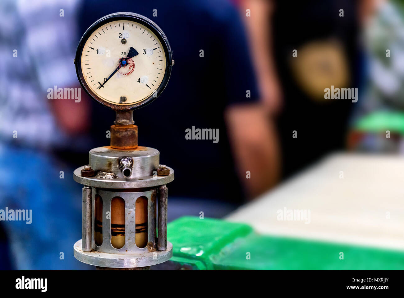 Close up of manometer or pressure gauge at winery - Stock Image