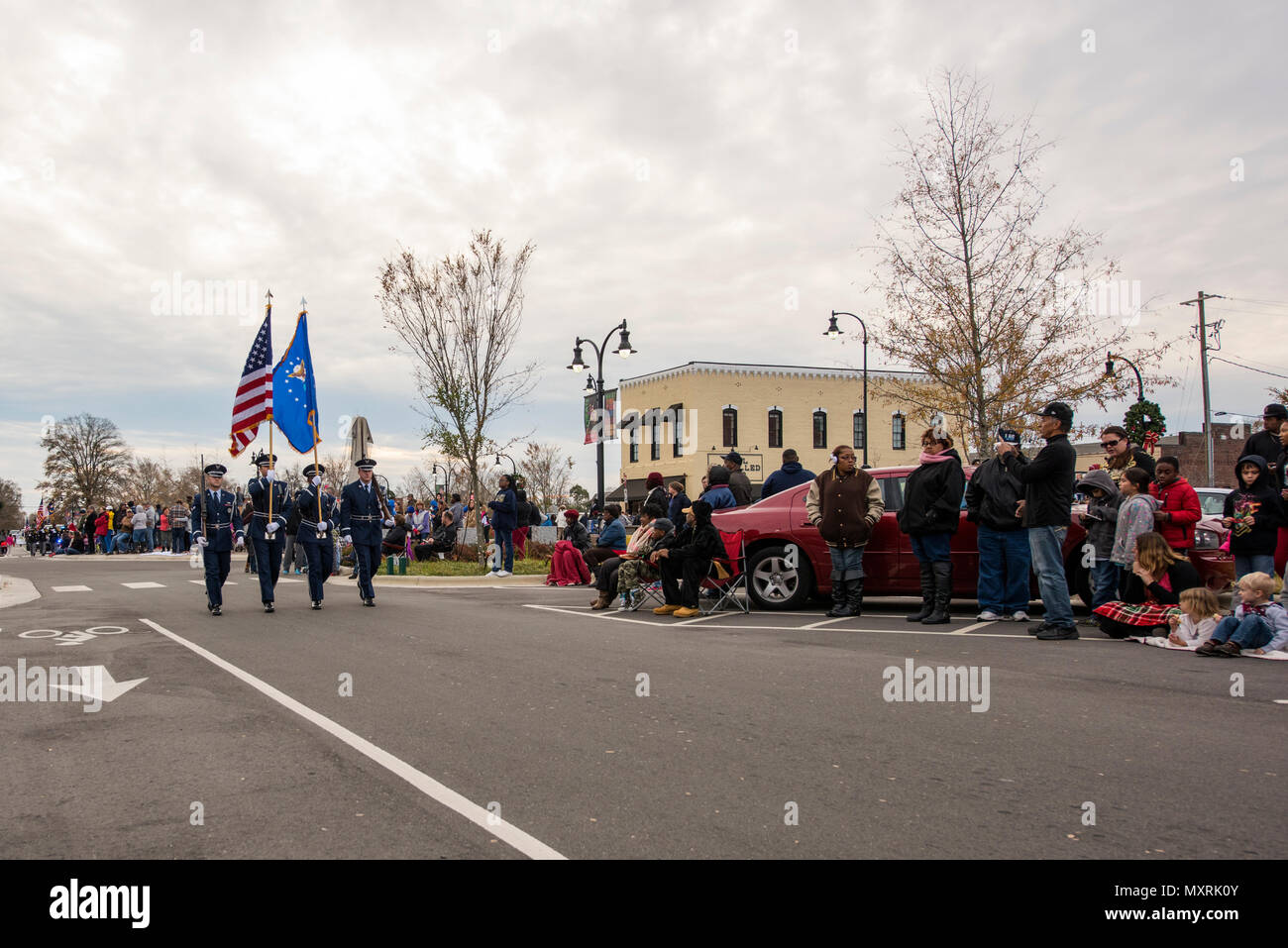 Goldsboro Nc Christmas Parade 2019 Airmen of the 4th Fighter Wing Honor Guard march during a