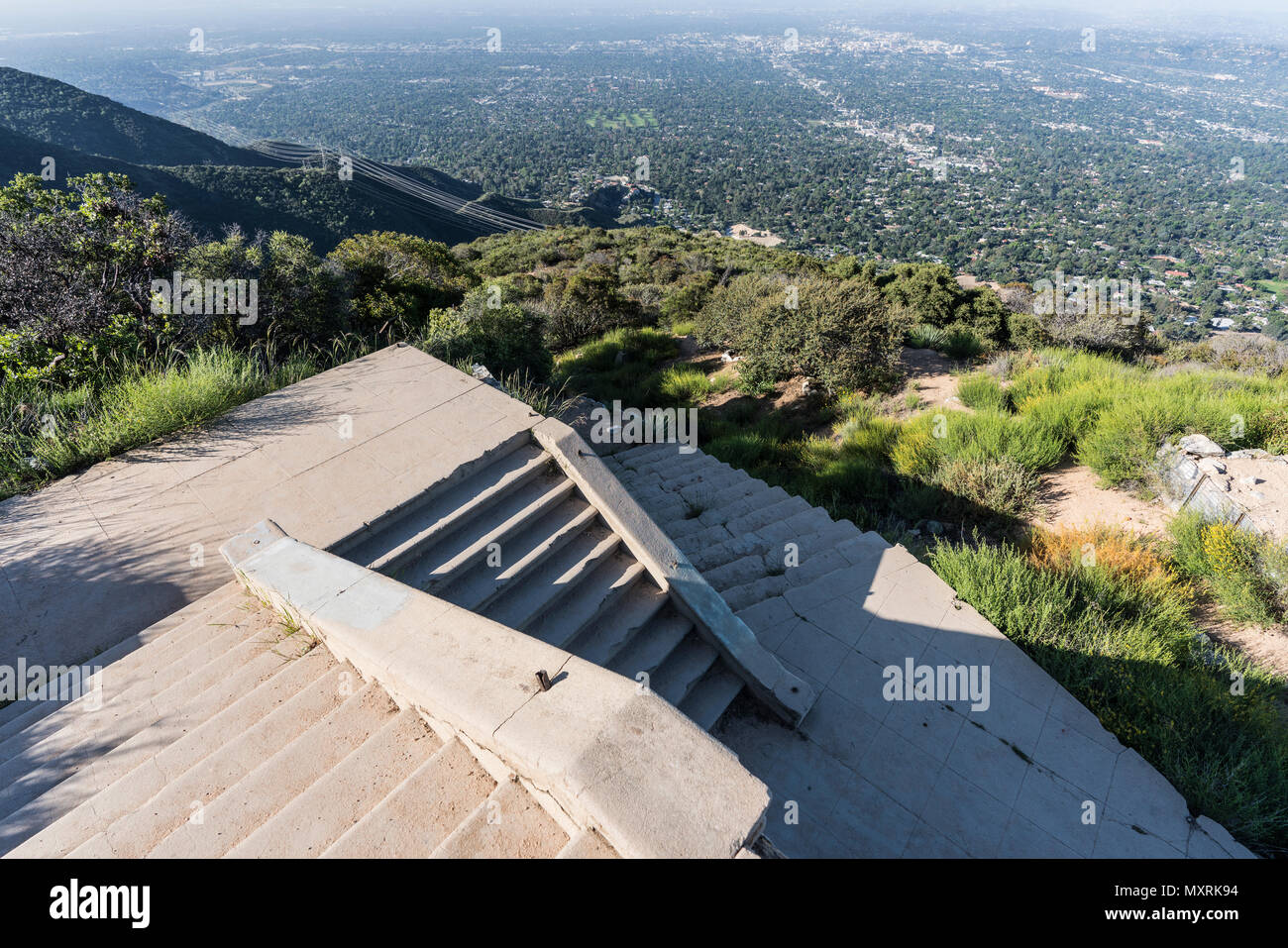 Historic incline railway stairway ruins on top of Echo Mtn in the Angeles National Forest above Pasadena and Los Angeles, California. - Stock Image