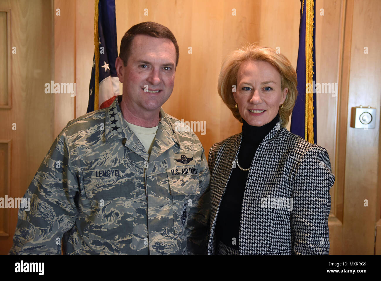 Air Force Gen. Joseph Lengyel, chief, National Guard Bureau, with Ambassador Alice Wells, U.S. ambassador to the Hashemite Kingdom of Jordan, during a Thanksgiving troop visit, Nov. 27, 2016. (U.S. Army National Guard photo by Sgt. 1st Class Jim Greenhill) - Stock Image