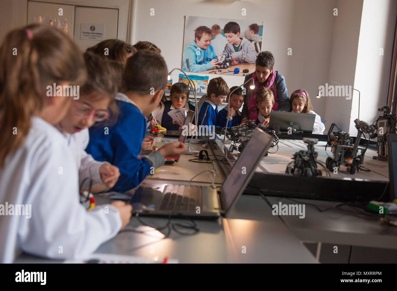 Rome. Technotown, technological scientific toy library in Villa Torlonia. Italy. - Stock Image