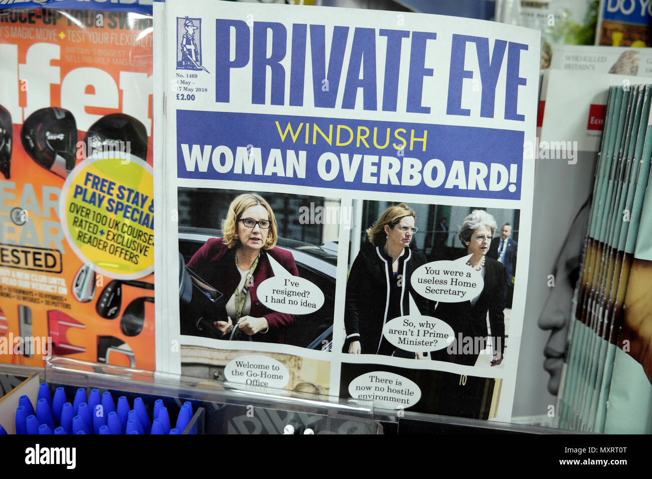 The May 2018  Private Eye magazine cover Windrush scandal headline Amber Rudd 'Woman Overboard'  on magazines shelf at newsagent in London England UK - Stock Image