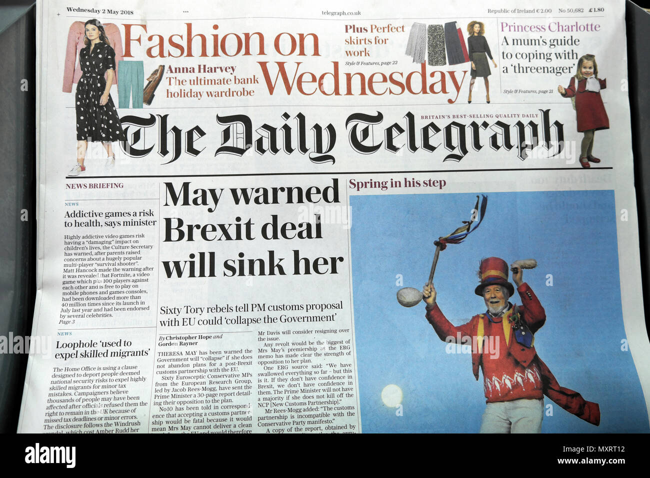 """The Daily Telegraph newspaper front page headline on 2 May 2018 Tory Prime Minister  """"May warned Brexit deal will sink her""""  in London England UK Stock Photo"""