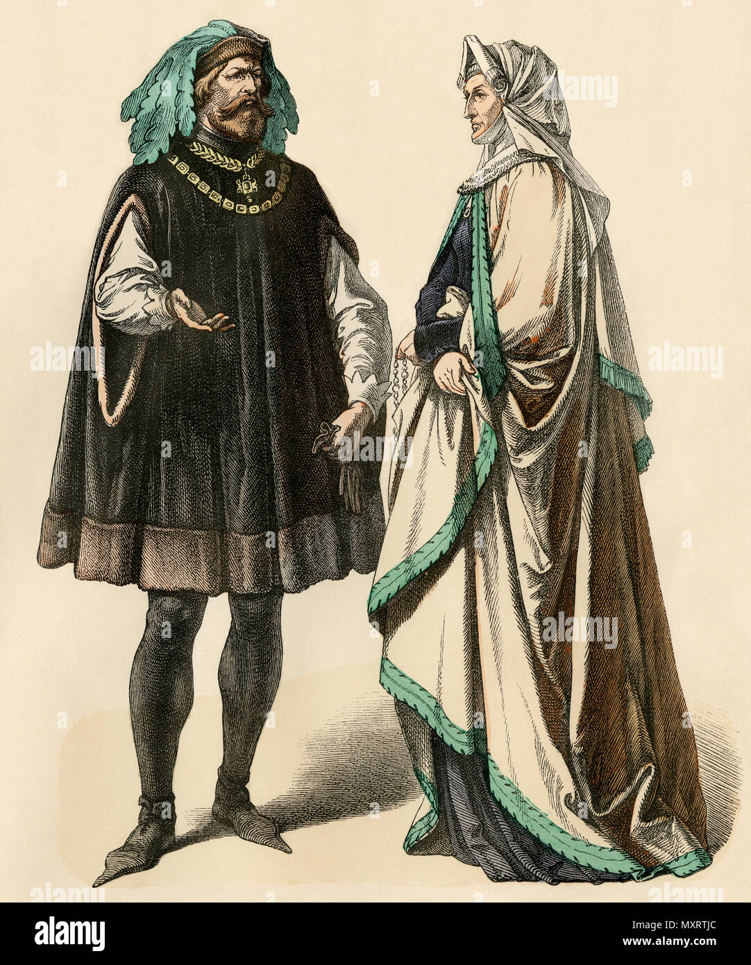 Nobleman and noblewoman in fashions of the high Middle Ages. Hand-colored print - Stock Image