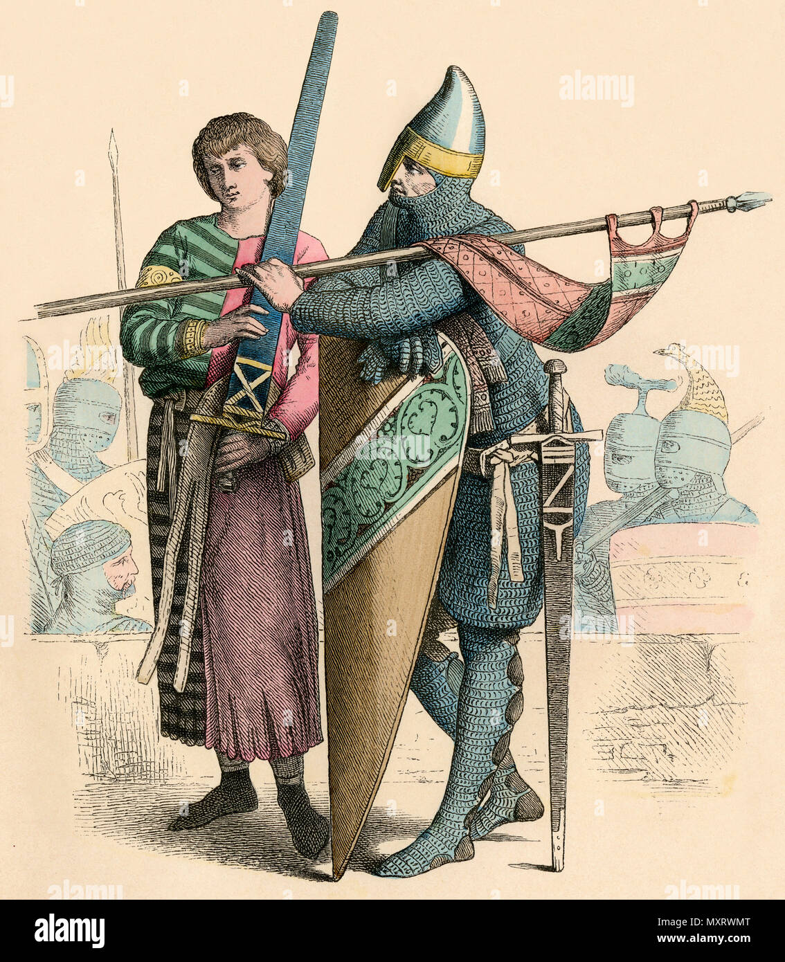 Squire carrying a broadsword and a knight, 12th century. Hand-colored print - Stock Image
